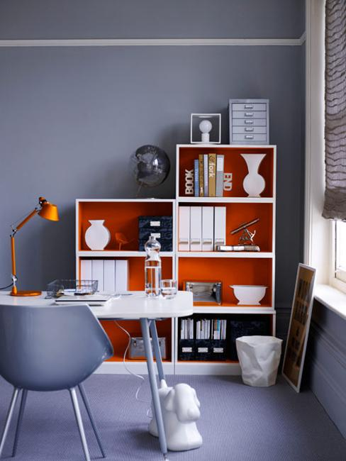 grayigh blue wall paint color and white red storage furniture for home office decorating