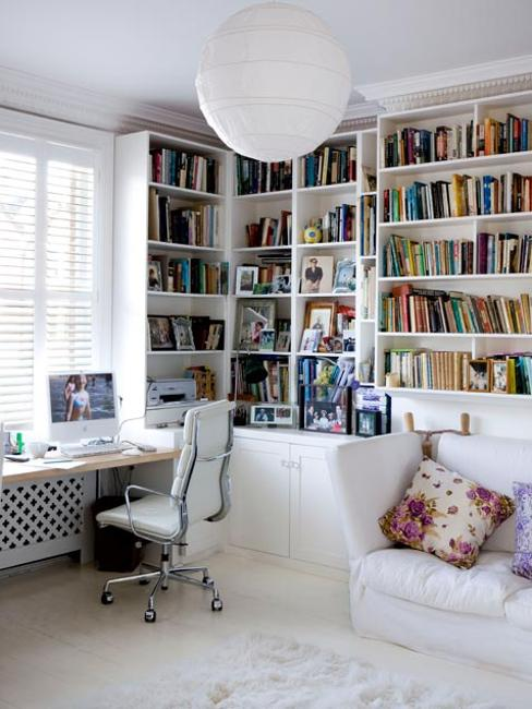 large built in book shelves