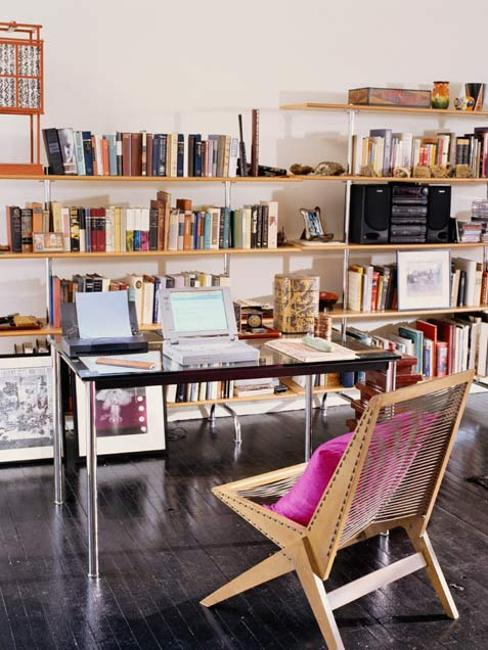 home office with wooden wall shelves