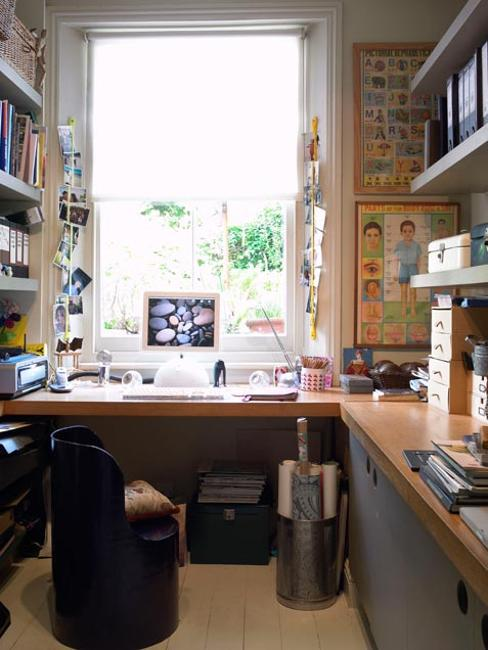 window office design with bookshelves