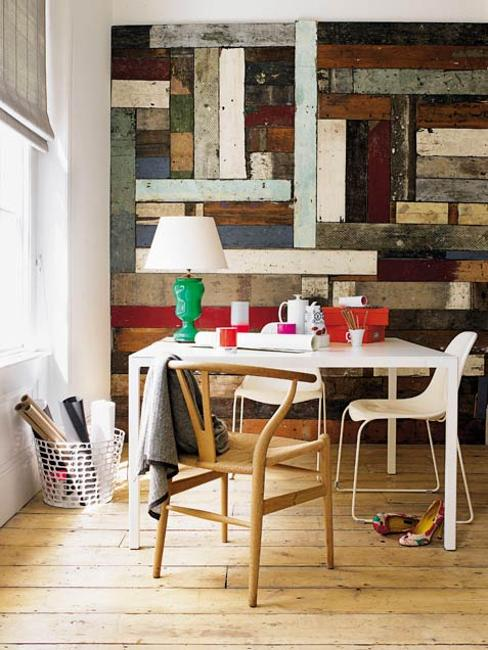 salvaged wood wall decoration and wood furniture for office