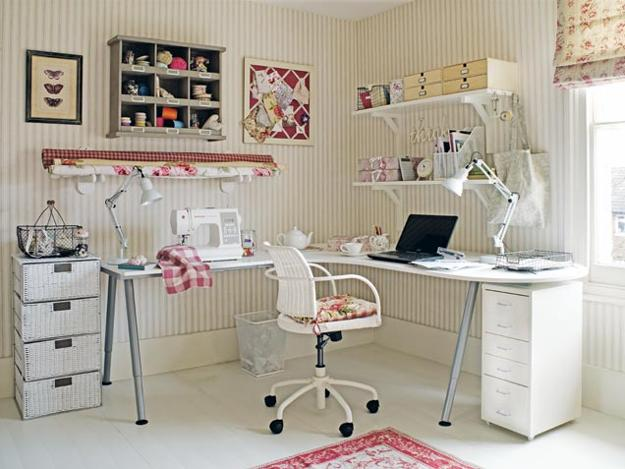 modern home office decor ideas, white pink colors