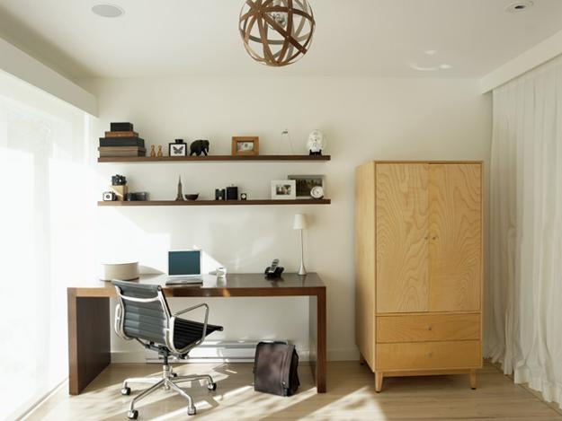 home office wiith wood furniture