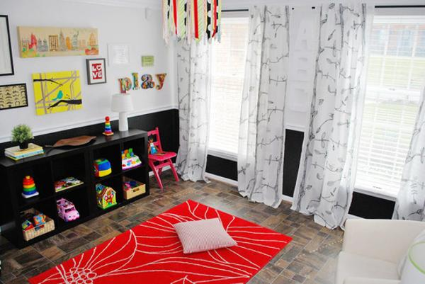 Bright Kids Playroom Ideas And Black White Red Color