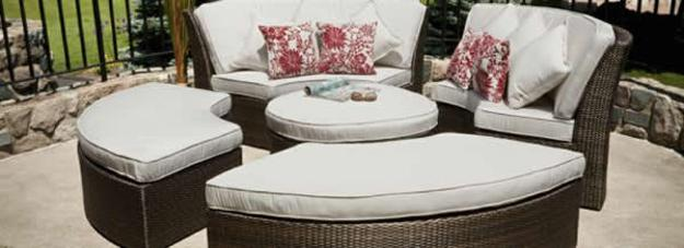 outdoor furniture with white cushions