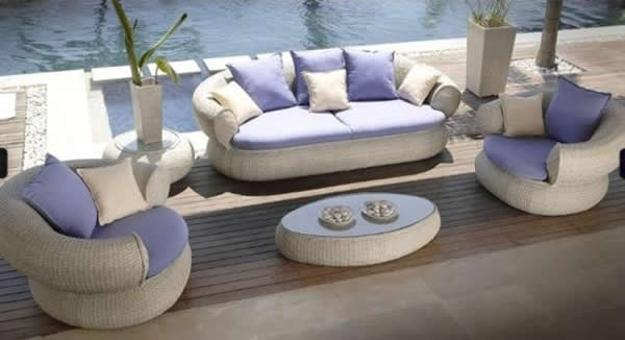 white upholstered outdoor furniture set