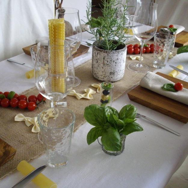 party table decoration with tomatoes and edible herbs