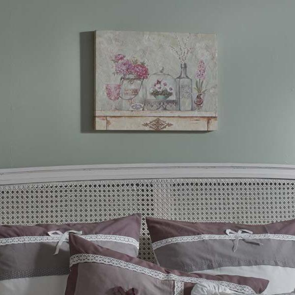 vintage bed painted white and lace bedding set