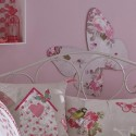 pink wall paint and white home textiles with pink flowers, butterflies Decorate Your Wall