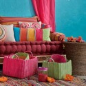home furnishings, blue and pink color combination with light green accessories
