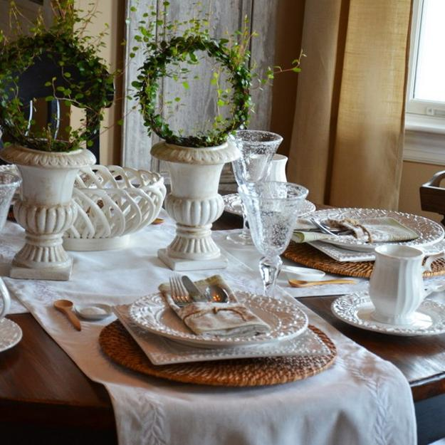 Elegant Table Decoration With White Tableware Rattan