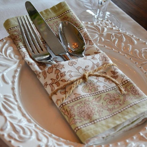 napkin decorated with twine