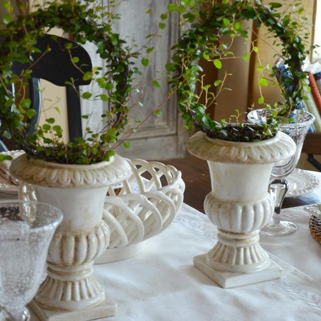 green table centerpieces for soring decorating