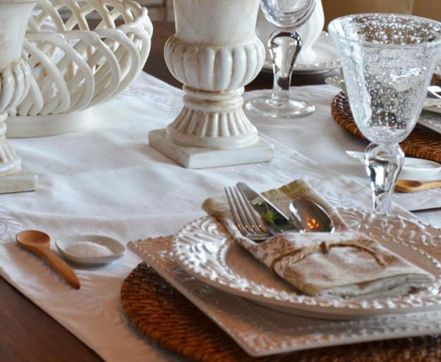 white dishes and napkins in neutral colors