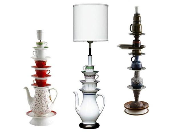 table lamps made with tea cups and pots