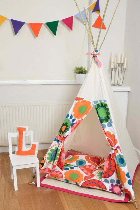 colorful floral fabric for teepee for children bedroom