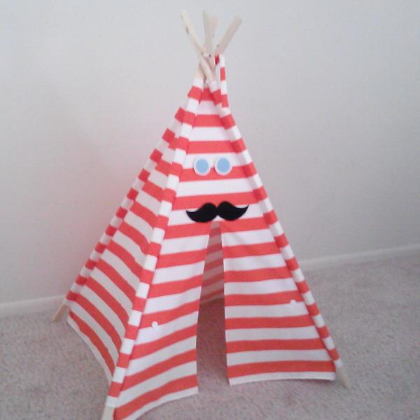 white and red striped fabric for teepee tent design
