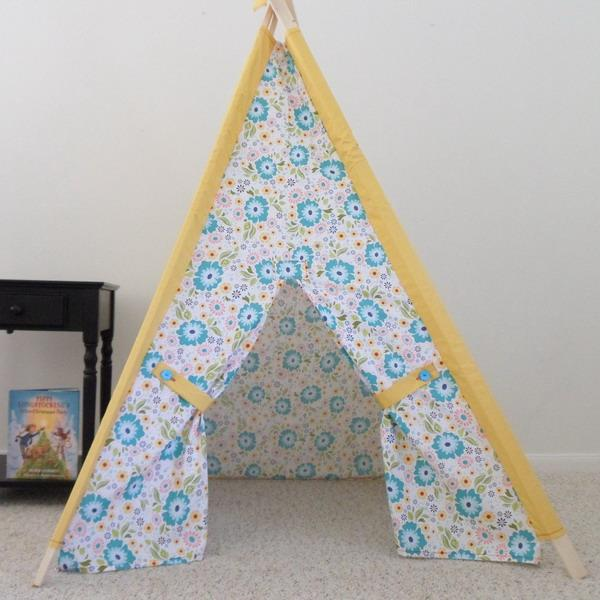teepee curtain fabric with white and blue pattern