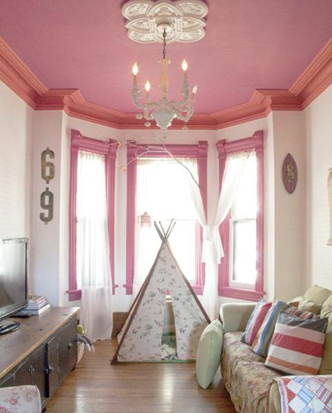 pink ceiling and teepee tent for kids room decorating