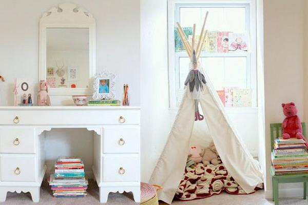 white decorating ideas for kids rooms, teepee with white curtains