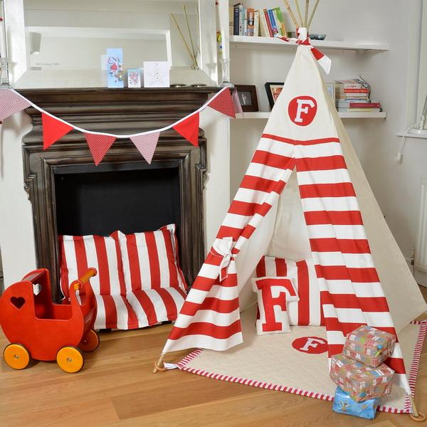 striped curtain fabric in white and red color combination for kids room decoraitng with teepee