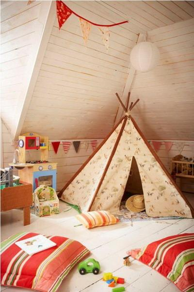 small teepee in creamy color for children bedroom decorating