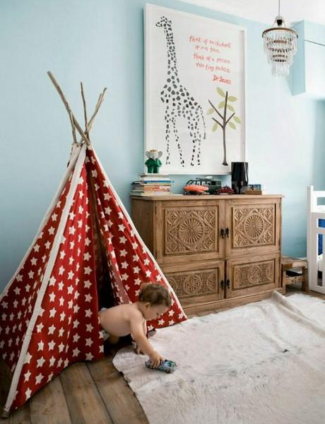 red polka dot teepee curtains for toddler bedroom