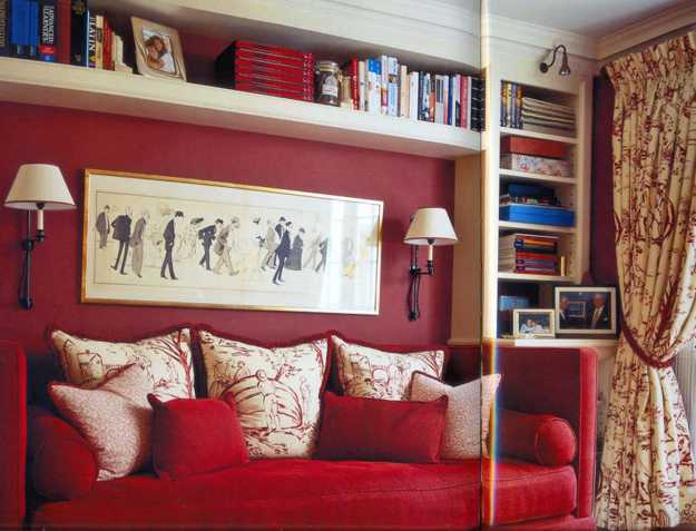 red sofa and wall decoration with art print and wall shelf
