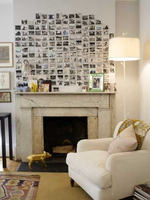 living room fireplace wall decoration with small photographs