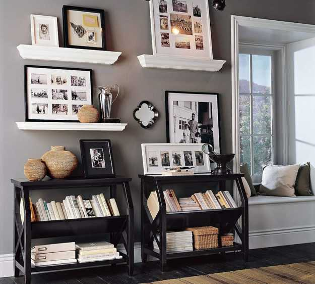 wall shelves with framed art prints and pictures