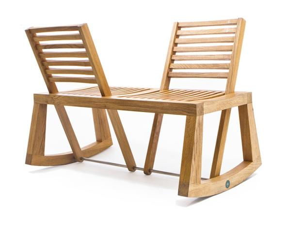 Reinventing wooden bench with two pivoting backrests for Ausgefallene sofas