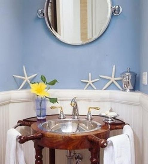 nautical decor ideas for modern bathroom decorating in red white and blue colors