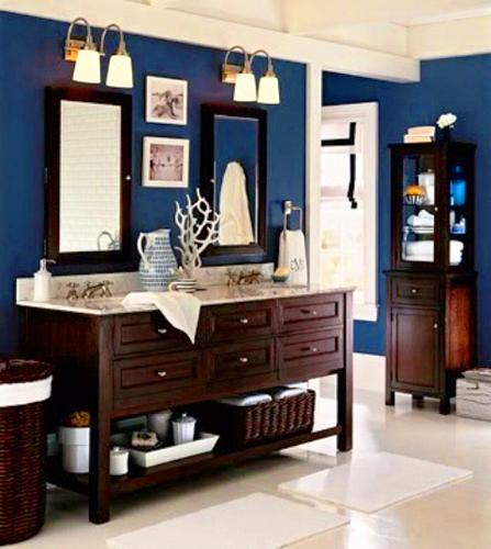 Nautical decor ideas for modern bathroom decorating in red, white and blue colors