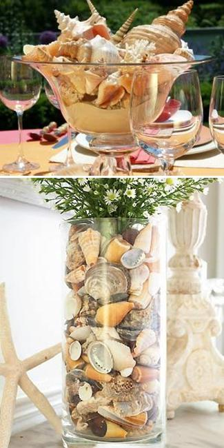 Sea shell crafts and unique table centerpiece ideas