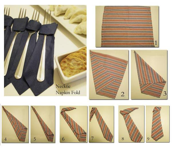 tie inspired napkin folding design for fathers day table decoration
