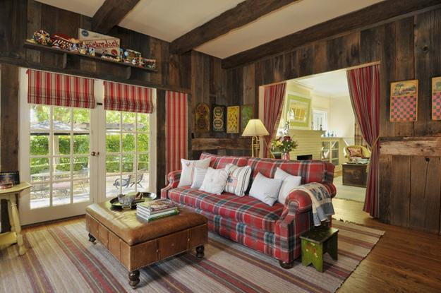Captivating Decorative Fabrics And Deep Red And Green Colors For Country Home Decorating