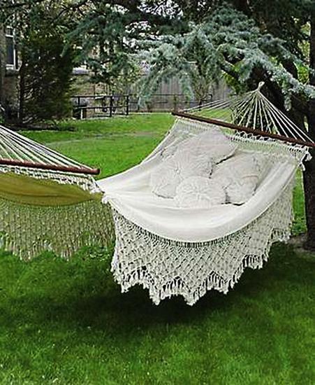 Colorful fabrics for hammock decorating, summer decorating ideas - Perfect Pillows For Hammock Decorating Adding Comfort To Backyard