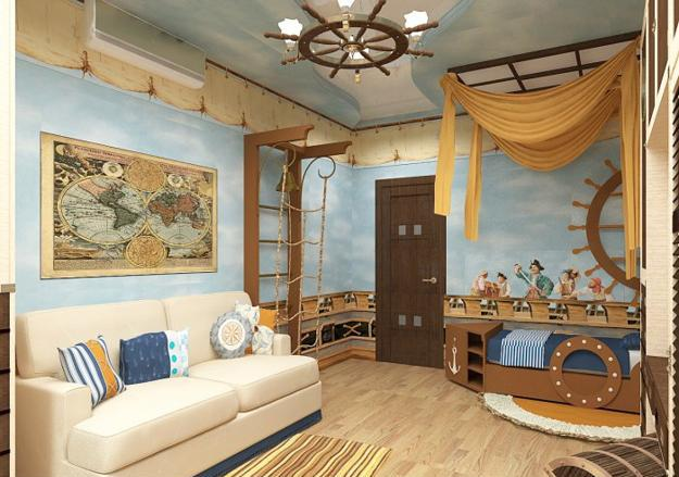 Nautical decor ideas kids room decorating with ship wheels for Sailor themed bedroom