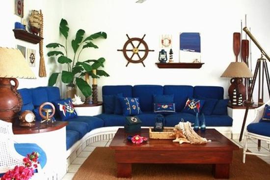 Interior Design with nautical decor accessories Ship wheel