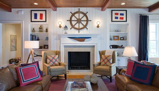 Nautical Decor Ideas Enhanced By Vintage Ship Wheels And