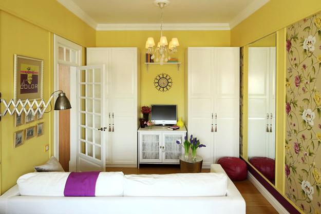 Small Living Room Decorating With Yellow Wall Paint Floral Wallpaper And White Vintage Furniture