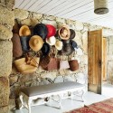 modern wall decor ideas, wall decorations made with hats