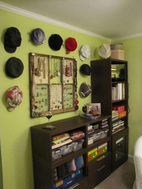 Fun wall decorating with hats adds unique accents to home for Hat storage ideas