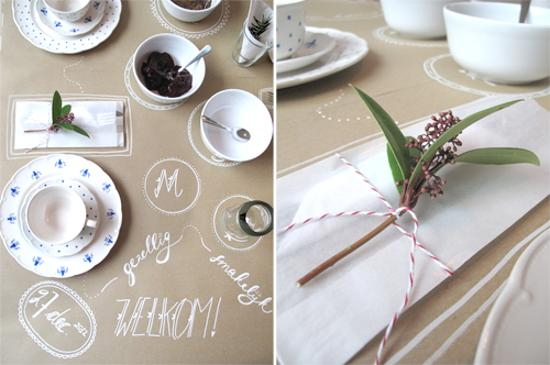 Hand Painted Disposable Paper Tablecloth Creative Table