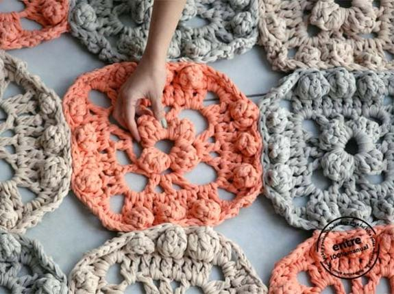 Handmade Crochet Rugs Floor Pillows And Poufs In Vintage