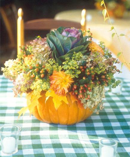 fall decorations, floral arrangements in handmade pumpkin pots and ...