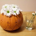 fall decorations, floral arrangements in handmade pumpkin pots and vases