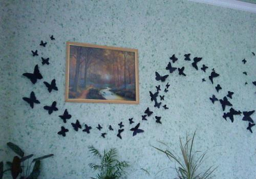 Handmade Butterflies Decorations on Walls, Paper Craft Ideas