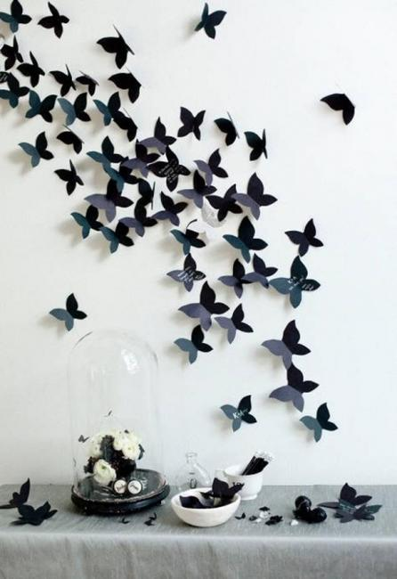 Handmade butterflies decorations on walls paper craft ideas for Wall decoration with paper