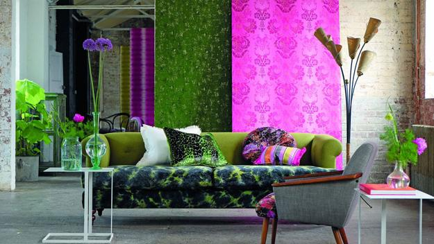 colorful interior decorating with modern wallpaper patterns and floral fabrics in pink and green colors - Wallpaper For Homes Decorating